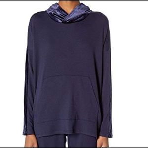 NEW Eileen Fisher hooded box top in side terry L/G